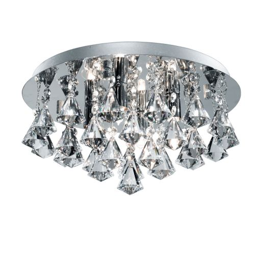 Hanna Ip44 Bathroom - 4 Light Crystal Ceiling Flush, Clear Pyramid Crystal Drops, Chrome 2204-4Cc